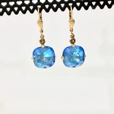 Square Teal Blue Swarovski Crystal Earrings