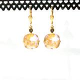 Square Champagne Swarovski Crystal Earrings