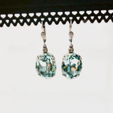 Large Oval Sea Green Swarvoski Crystal Earrings