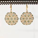Circle Lace Blue Swarvoski Crystal Earrings