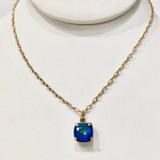 Square Bermuda Blue Swarvoski Crystal Necklace