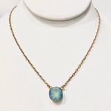 Square Ice Blue Swarvoski Crystal Necklace