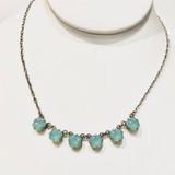 Multi Square Ice Blue Swarvoski Crystal Necklace