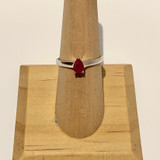 Pear Shape Ruby Silver Ring, Size 6.5