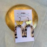 Tortoiseshell Resin and Brass Moon Earrings