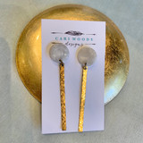 Mother-of-Pearl Resin and Brass Stick Post Earrings