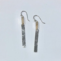 Mixed Metal Rippled Dangle Earrings