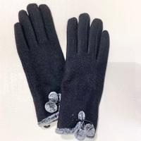 Black Wool Gloves with Faux Fur Trim