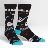 All That Jazz Men's Crew Socks from sock it to me black white music piano violin cello saxophone trumpet