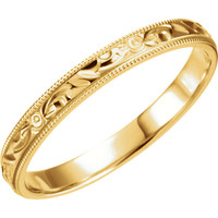 3mm Hand Engraved Band in Gold