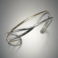 Mixed Metal Crossed Lines Cuff Bracelet by Peter James