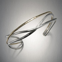 Mixed Metal Crossed Lines Cuff Bracelet by Peter James