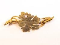 Victorian 14kt Grape Leaf Brooch with Diamond