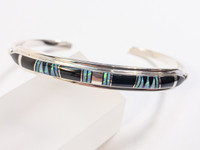 Onyx and Opal Inlay Silver Cuff Bracelet by Cathy Webster