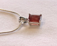 Oregon Sunstone Rectangular Pendant Necklace