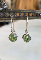 Faceted Peridot Silver Dangle Earring