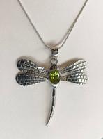 Dragonfly Peridot Silver Pendant