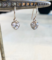 Faceted White Topaz Heart Silver Dangle Earring
