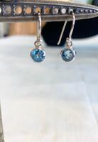 Faceted Blue Topaz Silver Dangle Earring