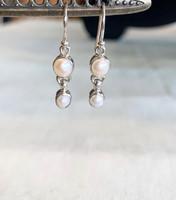 Double White Pearl Silver Dangle Earrings