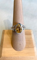 Pear Shape Faceted Citrine Silver Ring, Size 7
