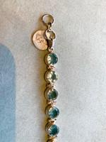 Round Faceted Multi Blue Topaz Silver Bracelet