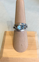 Oval Faceted Blue Topaz Silver Filigree Ring, Size 6.5