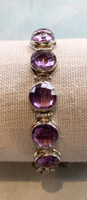 Round Faceted Multi Amethyst Silver Bracelet