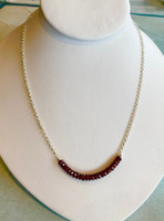 Faceted Garnet Bead Necklace on Silver Chain