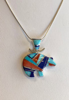 Multi Stone Inlay Silver Bear Pendant by Cathy Webster