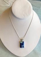 Lapis & Onyx Inlay Silver Rectangular Pendant by Sheryl Martinez