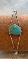 Turquoise Silver Cuff Bracelet by Louise Yazzie