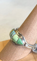 Gaspeite and Opal Inlay Silver Ring, Size 9