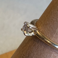 14k Yellow Gold Diamond Solitaire Ring, Size 6