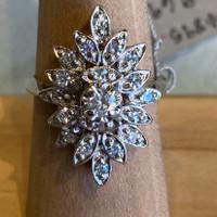 14k Diamond Cocktail Ring, Size 7