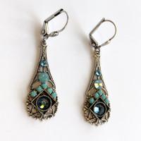 Blue Swarovski Crystal Silver Mosaic Pendulum Earrings