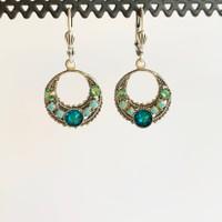 Blue Swarovski Crystal Silver Round Mosaic Earrings