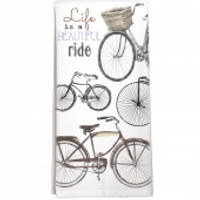 Flour Sack Tea Towel, Life is a Beautiful Ride Bicycles