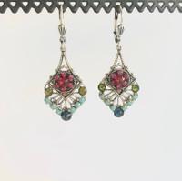 Swarovski Crystal Silver Mosaic Feather Earrings