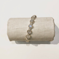 Oval Faceted Moonstone Toggle Bracelet