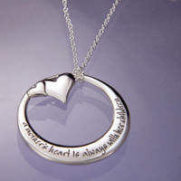 A Mother's Heart Silver Open Circle Necklace