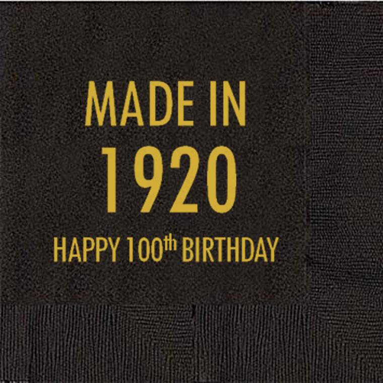 100th Birthday Napkins, Made in 1920