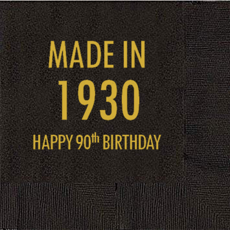 90th Birthday Napkins, Made in 1930