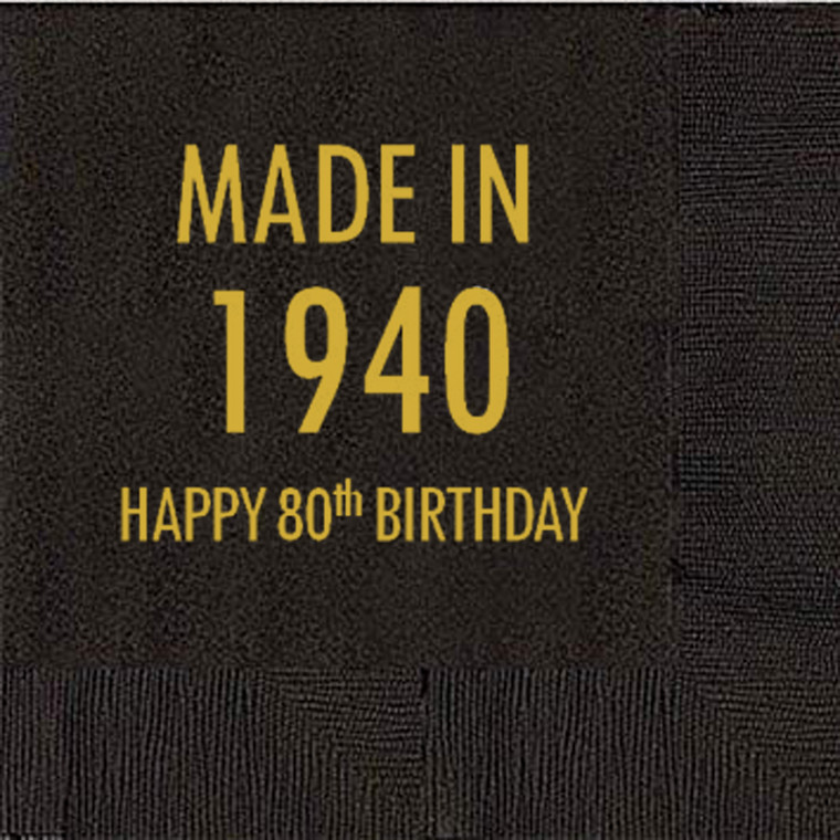 80th Birthday Napkins, Made in 1940