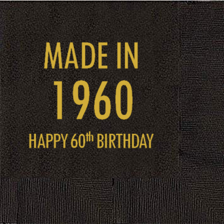 60th Birthday Napkins, Made in 1960