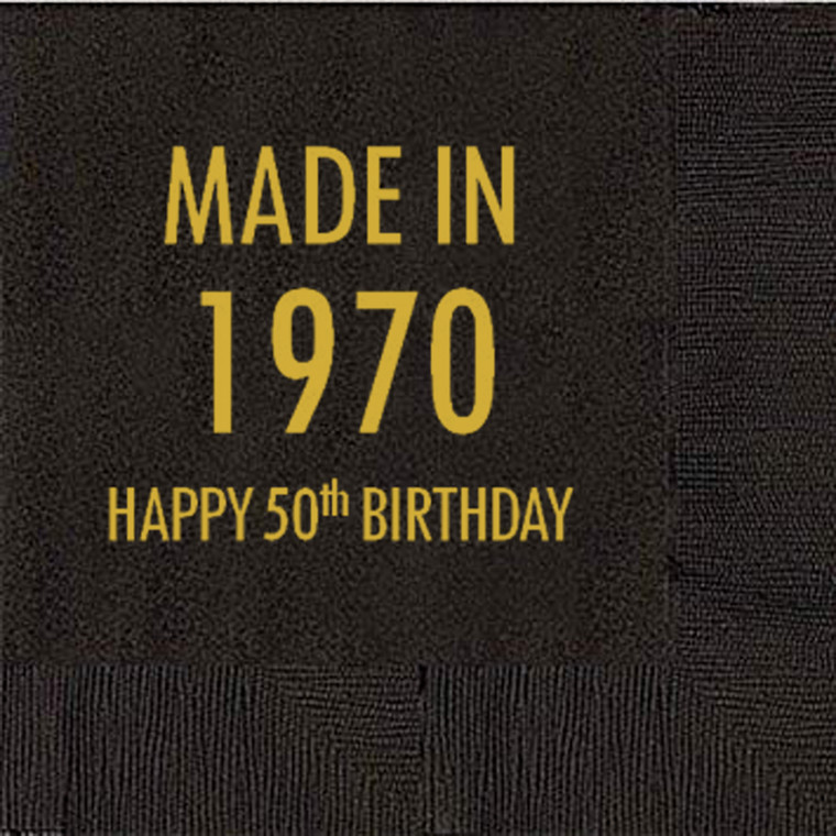 50th Birthday Napkins, Made in 1970