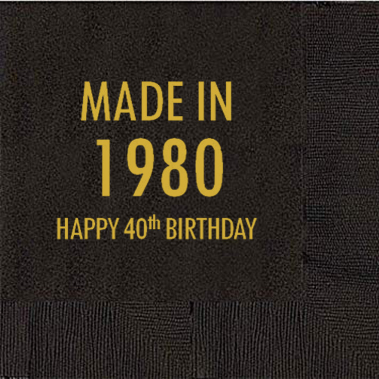 40th Birthday Napkins, Made in 1980