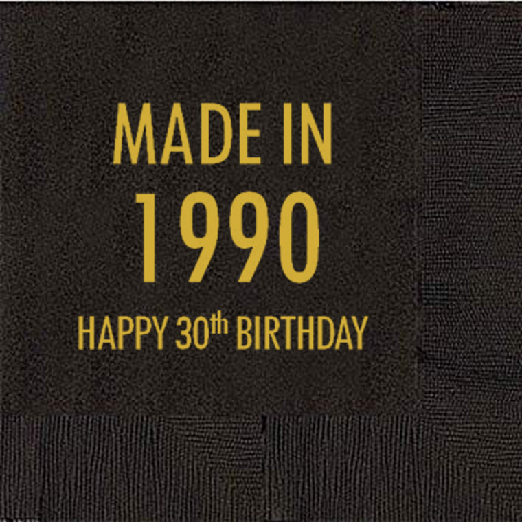 30th Birthday Napkins, Made in 1990