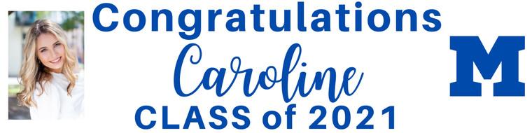 "Graduation Banner - Mandeville High M, Print or Cursive Personalized Photo- 15"" x 60"""