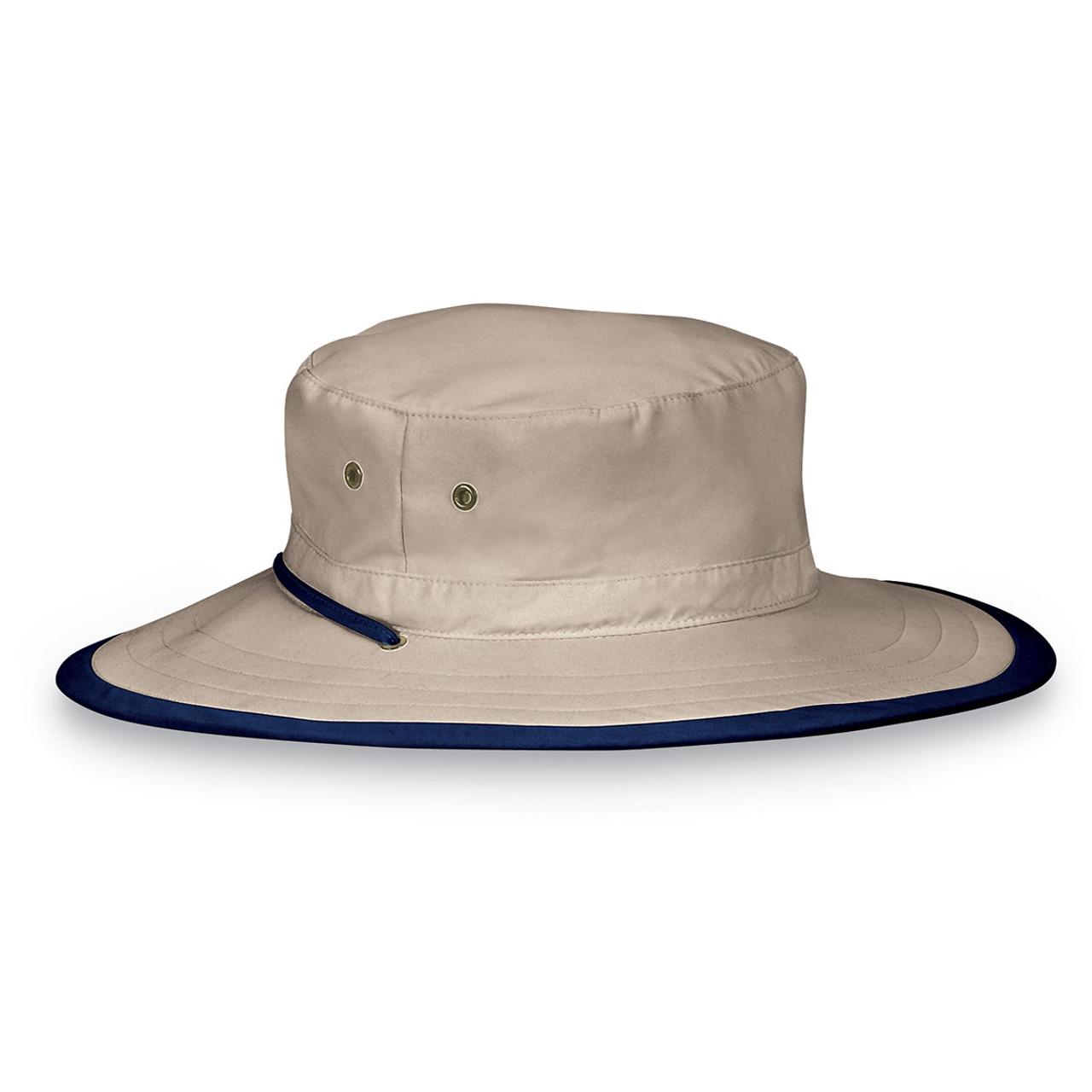 Mens Wallaroo UPF50+ explorer sun hats camel navy d79486dc403a